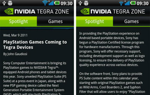 PlayStation Games Slated for Tegra 2 Devices