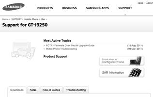 Samsung GT-I9250 Support Page Spotted