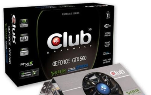 Club 3D Announces the GeForce GTX 560 Green Edition