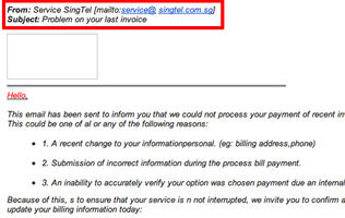SingTel Cautions Against Yet Another Email Scam
