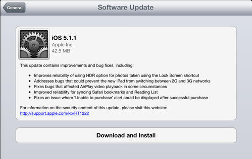 Apple Releases iOS 5.1.1 to Fix Bugs