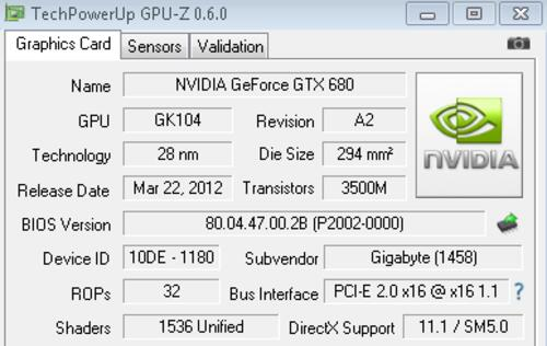 Gigabyte GeForce GTX 680 Windforce 5X Super Overclock 2GB GDDR5 - Quintuple Cooling