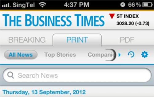 The Business Times Launches iPhone App