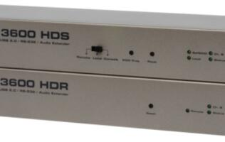 Gefen KVM Extender, DVI-3600HD Extends Multiple A/V Signals over Fiber Optic Cable Up to 2km