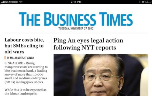 The Business Times iPad App Makes Debut