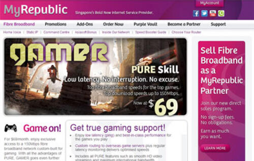 MyRepublic Upgrades GAMER Fiber Broadband Plan to 150Mbps