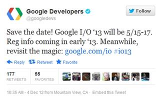Google I/O 2013 Set for May, Registration to Open Early Next Year