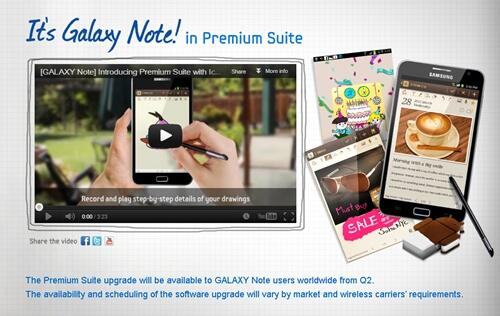 Samsung Galaxy Note to Get Premium Suite Upgrade in Q2 2013