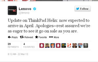 Lenovo Promises April ThinkPad Helix Launch