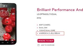 Android 4.3 Jelly Bean Listed on LG's Product Page