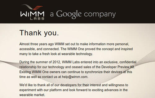 Google Confirms it Acquired Smart Watch Maker WIMM Labs