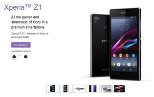 Register Your Interest for the Xperia Z1 at Sony Singapore Website