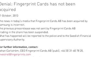 Fingerprint Cards: Acquisition Report is False (Update)