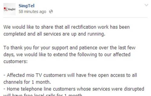 SingTel Compensates for Service Outage to its Customers
