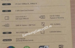 Alleged Photo of Samsung Galaxy S5 Box Reveals Its Specs