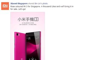 1,000 Likes to Get the Rose-Colored Xiaomi Mi 3 to Singapore