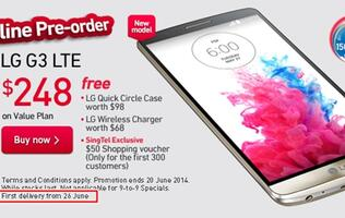 SingTel Unveils Price Plans for LG G3, First Delivery from June 26