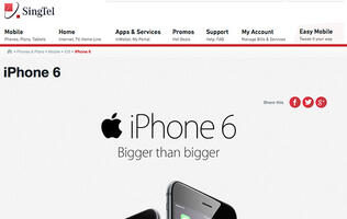 SingTel's registration of interest page for the iPhone 6 and 6 Plus is up too!