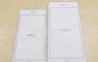 Print this paper template to find out how each iPhone 6 model fits in your hands