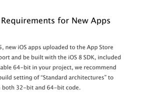 Apple will require all iOS apps to use 64-bit code starting in February 2015