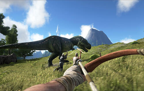 Ride and hunt dinosaurs in ARK: Survival Evolved, a new open-world MMO
