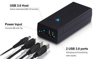 FSP's NB H series 2-in-1 adapters are both power bricks and USB 3.0 hubs
