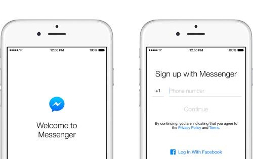 Facebook allows sign up of Messenger for users without a Facebook account