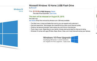 Windows 10 on a USB flash drive will cost the same as the DVD version
