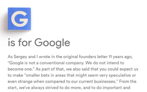 Google is now part of a large holding company called Alphabet