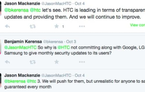 "HTC: ""Unrealistic"" for Android vendors to guarantee monthly security updates"