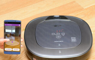 LG's new Hom-Bot Turbo+ robot vacuum cleaner doubles as a home camera