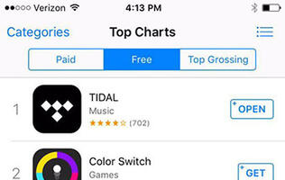 Tidal app surges to top of charts, thanks to Kanye West exclusive