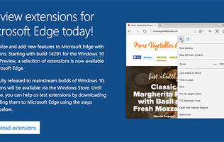 Microsoft's Edge browser in the latest Windows 10 test build now supports extensions