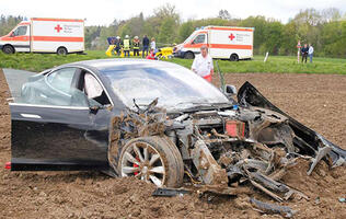 This Tesla Model S flew 25 meters, crashed, and rolled, but all five passengers survived