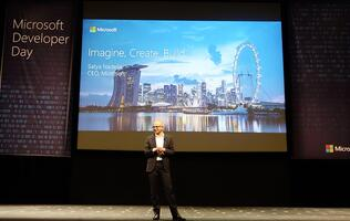 Microsoft CEO Satya Nadella delivers his keynote address at Microsoft Developer Day Singapore