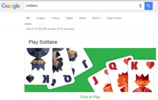 Google's search engine lets you play Solitaire at work