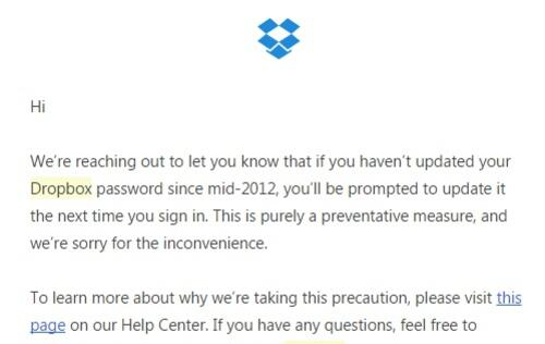 Dropbox users with accounts created in mid-2012 have been advised to change their passwords