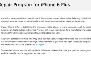 Apple has a multi-touch repair program for the iPhone 6 Plus