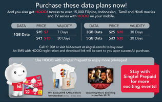Singtel offers HOOQ promotion to their prepaid mobile data users