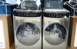 Samsung put two laundry machines inside its FlexWash and FlexDry machines