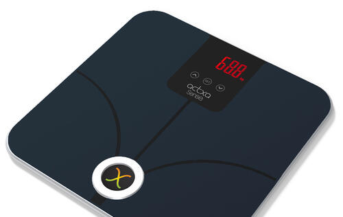 A smart weighing scale measuring muscle mass and body fat is available here