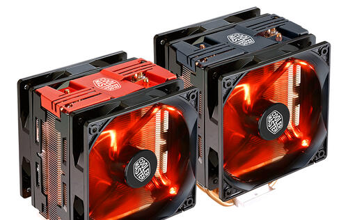 The Cooler Master Hyper 212 LED Turbo is a dual-fan, red LED version of its popular cooler
