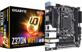 Gigabyte's Z370N WIFI is a tiny mini-ITX board that will let you run two GPUs off it with a riser card