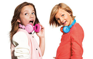 The JBL Jr kids headphones are compact, colorful, and will limit the volume to protect the child's hearing