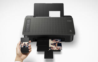The Canon Pixma TS307 is a single-function inkjet printer one moment and a 2-in-1 printer the next