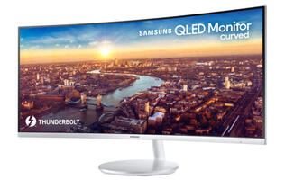The Samsung CJ791 is a big QLED monitor that supports Thunderbolt 3
