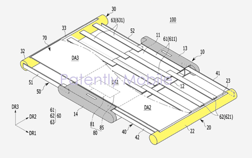 Samsung has received a patent for a smartphone with an expandable pull out display