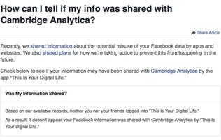 Here's how you check if your Facebook data was shared with Cambridge Analytica