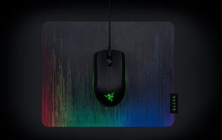 The Razer Abyssus Essential is a small ambidextrous gaming mouse with RGB underglow