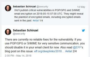 Decades-old flaws can leak plaintext of PGP and S/MIME encrypted emails